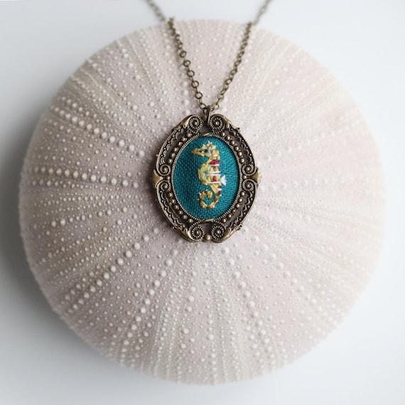Mr. Seahorse- hand embroidered necklace, under the sea, ocean, sea life, aquarium