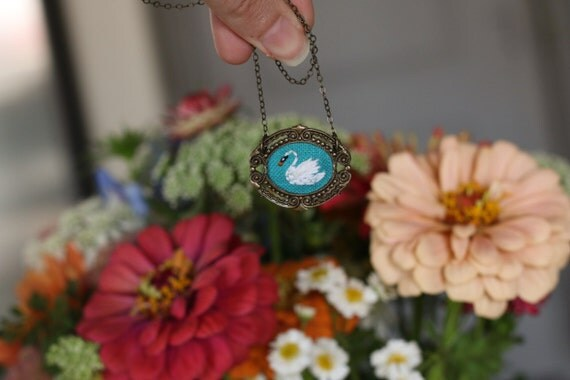 Little Swan- hand embroidered necklace, summer, needlework, mustard yellow, white, bird, animal