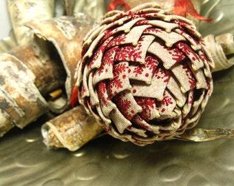 unique oatmeal burlap ornament, red sparkle, keepsake pine cone