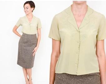 SummerS SALE 70s Tan Silk Blouse | Beige Short Sleeve Floral Embroidered Shirt | Medium