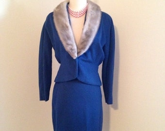 FALL SALE TODAYS Surprise Sale Vintage 1950s ladies suit sapphire silver mink winter wedding
