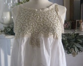 French Sugar Couture - Linen and Lace Collection - Up-Cycled White and Ecru Lace with White Cotton Tank Top - Altered Couture