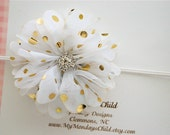 White and Gold Baby Headband, Gold Baby Headband, White Baby Headband, Baby Headband, Newborn Headband, Toddler Headband, Girls Headband