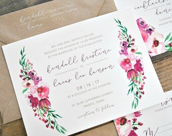 Isabella Watercolor Floral Wedding Invitation Suite with Kraft Brown, Burgundy & Blush Pink Floral, Belly Band with White Ink - Customizable