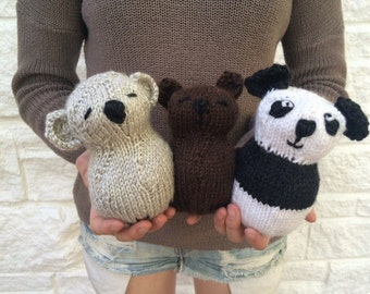 Three Little Bears Stuffed Toy - Knitting PATTERN - Easy Pattern - Great for the Advanced Beginner