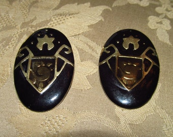 Black & Gold-tone Metal Shield-style Post Earrings