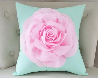 Nursery Pillow Mint Flower Pillow Cover Pastel Home Decor Throw Pillow Throw Pillow Cover Decorative Pillow Mint and Pink Accent Pillow