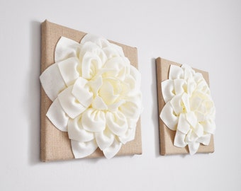 """Burlap Wall Hangings - Set of Two Ivory Dahlias on Burlap 12 x12"""" Canvas Wall Art- Home Decor- Housewarming Gift -Country Rustic Decor"""