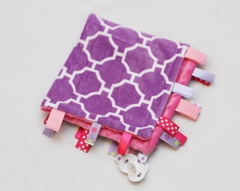Baby Ribbon Tag Blanket - Minky Binky Blankie - Purple and White Geometric with Pink