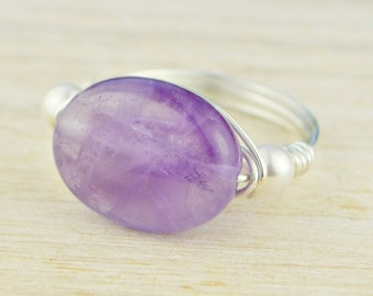 Oval Amethyst and Pearl Ring -Yellow or Rose Gold Filled or Argentium Sterling Silver Wire Wrapped- Any Size 4,5,6,7,8,9,10,11,12,13,14
