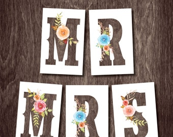 MR & MRS Wedding Chair Banner Signs  --  Watercolor Flower Bouquet Instant Download Printable File