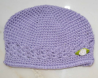 Baby lavender infant crochet hat. Add an accent flower in favorite color More colors available. Crochet baby hat, lavender baby hat