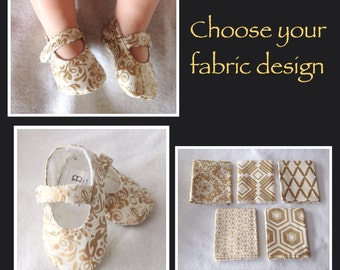 Baby Girl Shoes, Mary Janes, Gold and Ivory, CHOOSE your fabric design