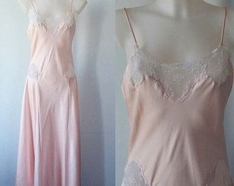 Vintage Pink Nightgown, Vintage Nightgown, French Maid, 1980s Nightgown, Vintage Lingerie, Romantic, Nightgown