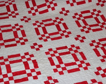 Red and White Handmade Machine Quilted Quilt