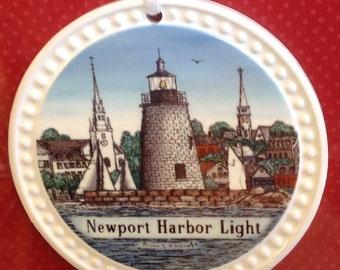 Christmas Ornament-Ceramic-Newport Harbor Light