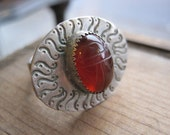Magic Carnelian Scarab Eye Ring in Sterling Silver. Adjustable Size. Ready to Ship.