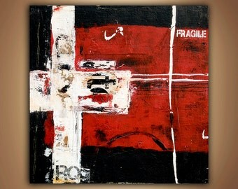 Red black and White Original Abstract PAINTING 36x36 canvas by Erin Ashley