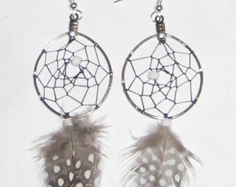 Dream Catcher Earrings - Guinea Hen Feather  TTT