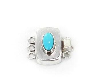 Sleeping Beauty Turquoise Clasp Oval 3 Strand New World Gems