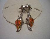 Valentine sale, silver earrings, orange fire opal, sterling silver studs, green, pink flash, Mexican Opal, 925 silver, opal, dangle earrings