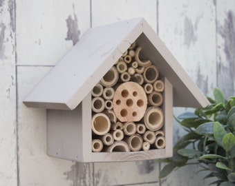 Mason Bee House, Single Tier, in 'Muted Clay'. Can be personalised.