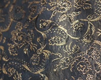 Black and Gold Brocade with Floral Pattern
