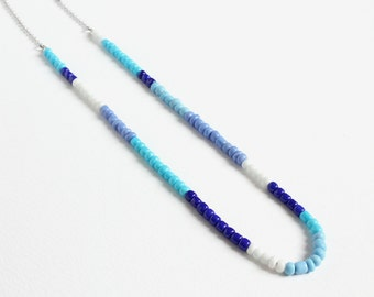 Colorful Small Beads Stainless Steel Necklace in Blue and White