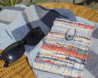 Soft Fabric Eyeglass Case, Summer Sunglasses Case, Reading Glasses Case, Boho Bag Wallet Pouch, Tall Rainbow Recycled Rag Woven Small Bag