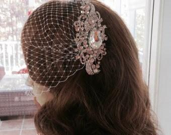 Birdcage Blusher Veil, Wedding Bandeau Veil, Bridal Rhinestone Veil