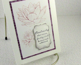 Sympathy Card Handmade Empathy Lotus Subtle Plum Sketched Flower Christian Sympathy Card Comfort Blessings