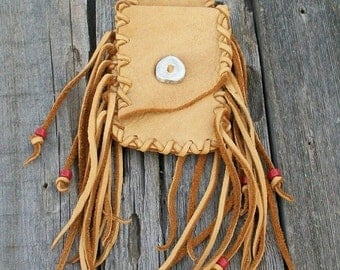 ON SALE Fringed hip bag ,     Leather hip bag ,   Buckskin leather belt bag , Medicine bag