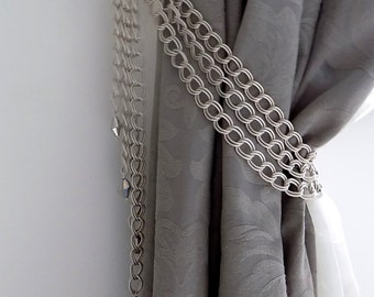 SET OF 2 decorative curtain tiebacks, silver chains with glass pendants- drapery holder - tie backs curtain