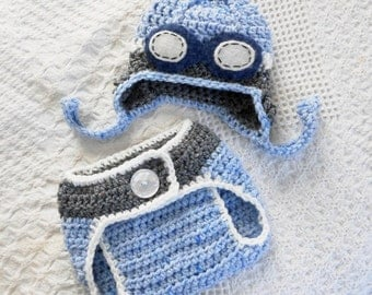 Baby boy  aviator hat diaper cover set coming home outfit goggles newborn boy  pilot hat photo prop hat blue gray tweed wool crochet