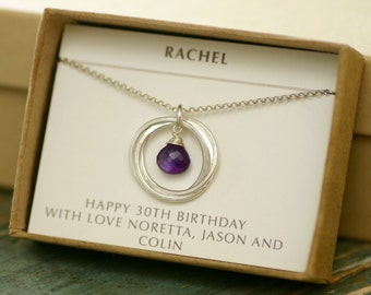 30th birthday gift for her, amethyst necklace for daughter, 3 interlocking circle necklace, February birthstone jewelry for women - Lilia