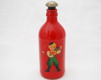 Vintage 1940's Laundry Ironing Sprinkling Water Bottle - Red Painted Glass with Decal - Boy Playing Violin - Laundry Room Decor