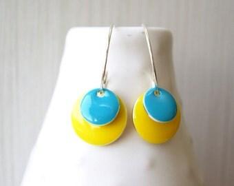 Yellow Enamel Earrings - Silver Hoops, Geometric Jewelry, Sky Blue, Simple,Modern, Contemporary, Drops