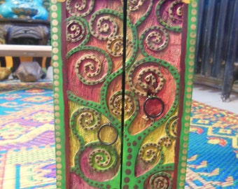 Bohemian Painted Tree Of Life Wood Curio Cabinet Box Storage