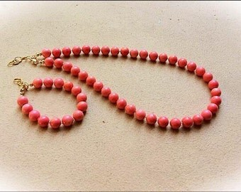 Pink Orange Coral Necklace BEAUTY
