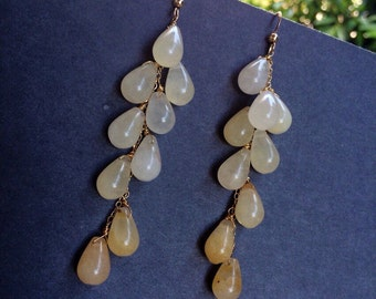 Ombré  Moonstone Earrings.  Cascade of Natural Gemstones.  3.5 inches