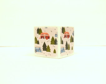 Mountain View  Wood Bank, Piggy Bank, Wooden Coin Bank, Money Box, Coin Box, Travel, Camper, Camping, Savings, Mountain, Pine trees, Explore