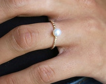 gold ring, pearl ring, tiny pearl ring, thin ring, band ring,tiny ring,stacking ring, dainty ring, simple ring, minimalist ring, stone ring