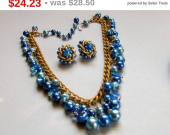 Blue Beaded Cha Cha Necklace and Earrings Set