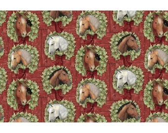 Horses in Wreaths Fabric - Welcome Wreath from Springs Creative - Christmas Horse Cameos