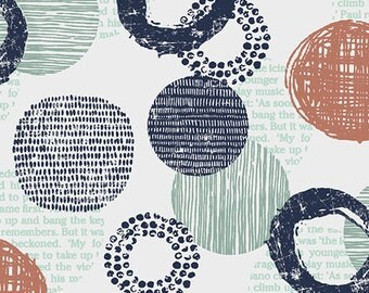 Modern Geometric Circles Blue Terra Cotta on Parchment - Poster Block from Stof - Full or Half Yard Circles and Words