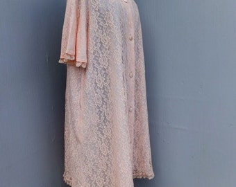 Vintage 60s Keyloun Fifth Ave NY, Romantic Pink Lace Robe, Lace Robe, Pink Lace Lingerie, Valentine's Day, Ex Large or Plus Size