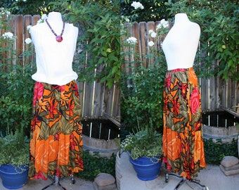 1980's Orange Skirt Maxi Floral Pinks Greens Black Vintage REtro 80s Size 10  Small Medium Long Tropical Hipster