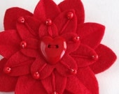 Red Flower Brooch Valentine's Felt Pin with Red Heart Button, Hand Embroidery and Red Czech Glass Beads