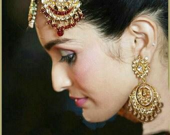 Kundan Chandelier Earrings-Kundan Chandbali 22K Gold plated Earrings- Indian Jewellery,Bridal Earrings,Wedding Jewellery by Taneesi