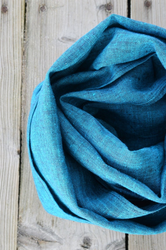 Mens Scarf - Blue Linen Scarf - Linen Wrap Scarf - Linen Shawl - Linen Scarf - Women Scarf - Linen Accessory - Scarf With Fringe